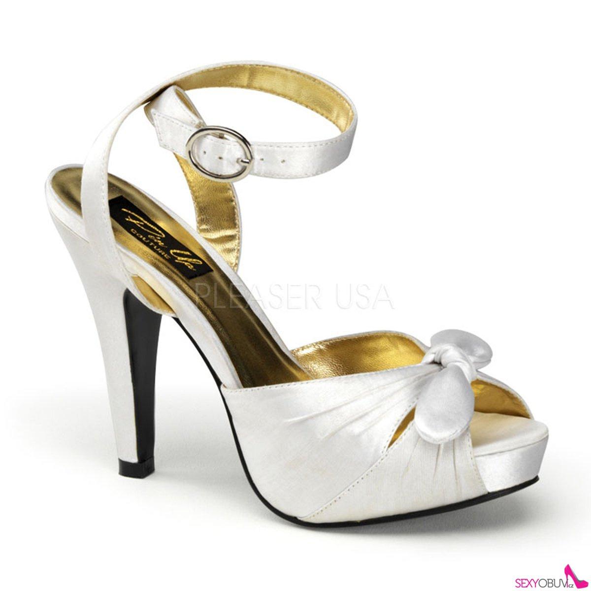 BETTIE-04 Bílé svatební a společenské boty na podpatku d27a8a6f7a