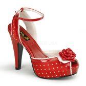 BETTIE-06 Červené retro společenské boty na podpatku