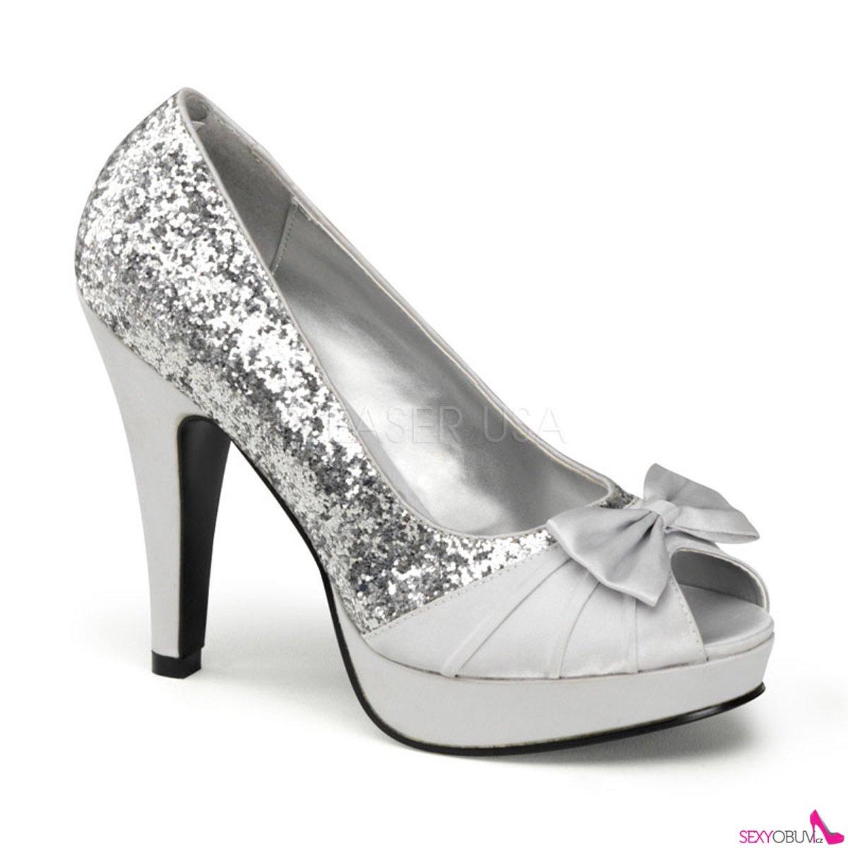 e0b905d04e BETTIE-10 Stříbrné společenské boty na podpatku