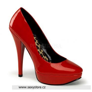 HARLOW-01 Červené sexy lodičky na podpatku