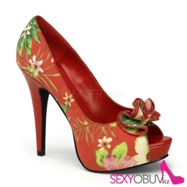 LOLITA-11 Sexy lodičky na podpatku červená/květiny