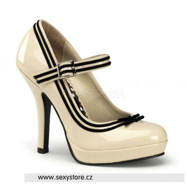 SECRET-15 Retro krémové dámské lodičky na podpatku