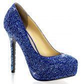 PRESTIGE-20 Luxusní modré dámské lodičky na podpatku