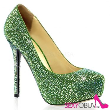 PRESTIGE-20 Luxusní zelené dámské lodičky na podpatku