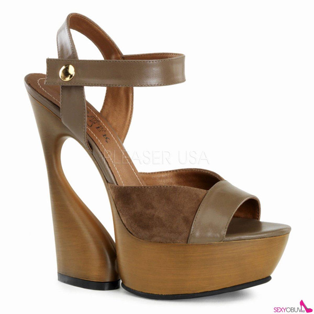 24102963863 SWAN-612 Moderní hnědé kožené boty na klínkovém podpatku