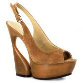 SWAN-654 Moderní hnědé boty na klínkovém podpatku
