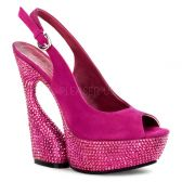 SWAN-654DM Moderní růžové luxusní boty na klínkovém podpatku