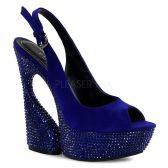 SWAN-654DM Moderní modré luxusní boty na klínkovém podpatku