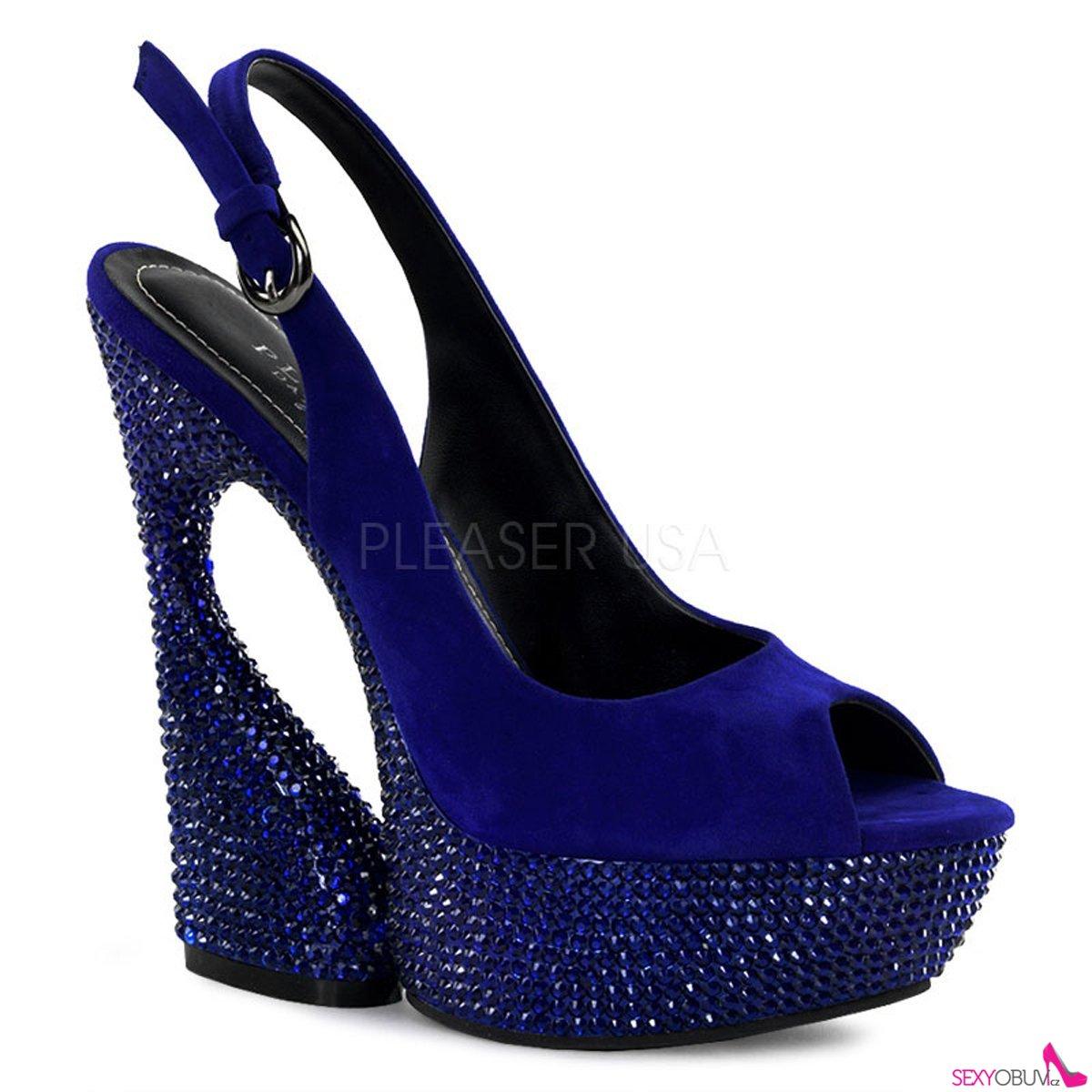 291c4d3ef6e SWAN-654DM Moderní modré luxusní boty na klínkovém podpatku ...