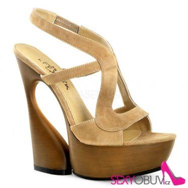 SWAN-657 Moderní krémové luxusní boty na klínkovém podpatku labutí styl