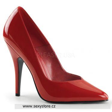 SEDUCE-420V Klasické červené dámské lodičky na podpatku