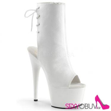 ADORE-1018 Sexy bílé kotníčkové kozačky na podpatku a platformě pleaser
