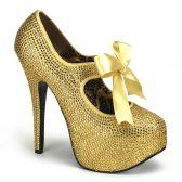 TEEZE-04R Extravagantní zlaté dámské lodičky na vysokém podpatku a platformě