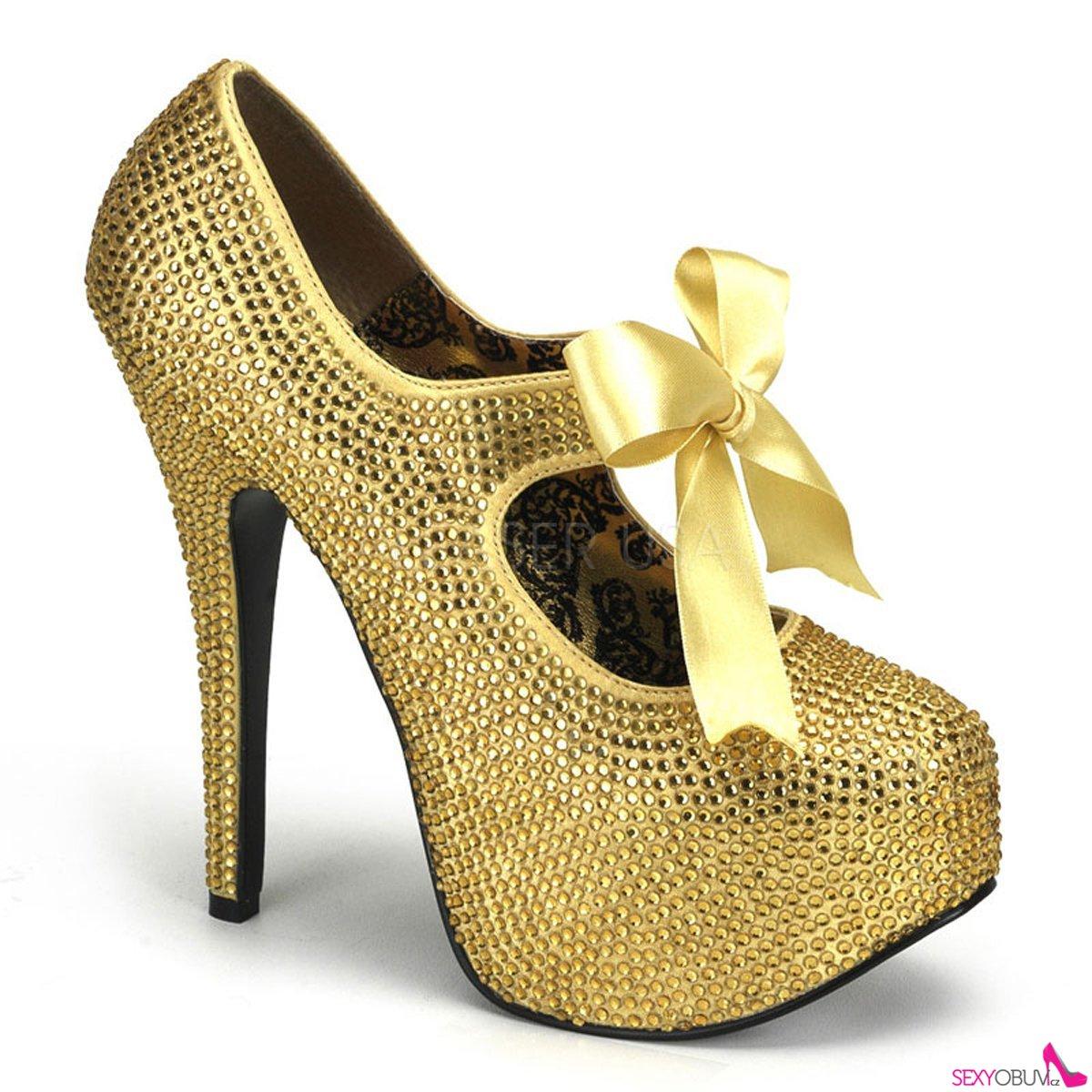 TEEZE-04R Extravagantní zlaté dámské lodičky na vysokém podpatku a platformě 4e3811ddf6