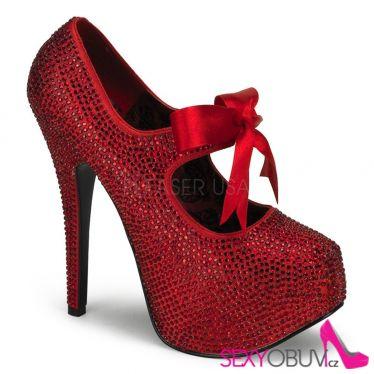 TEEZE-04R Extravagantní červené dámské lodičky na vysokém podpatku a platformě ozdobné kameny