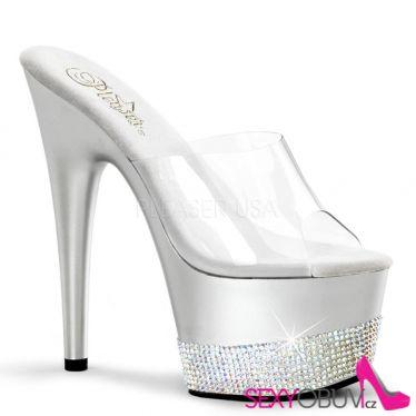 ADORE-701-3 Luxusní stříbrné sexy boty na podpatku a platformě