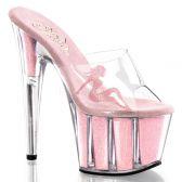 ADORE-701-4 Růžové sexy boty na vysokém podpatku a platformě