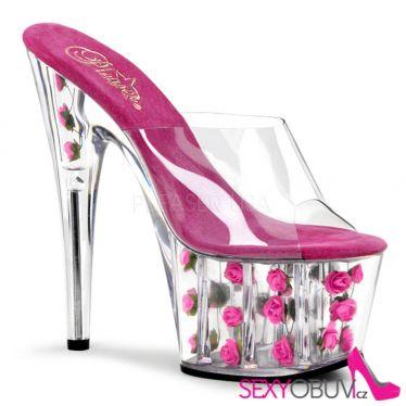 ADORE-701FL Tmavě růžové sexy boty na podpatku a platformě květy
