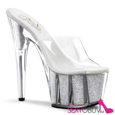 ADORE-701G Stříbrná/průhledná sexy boty na podpatku