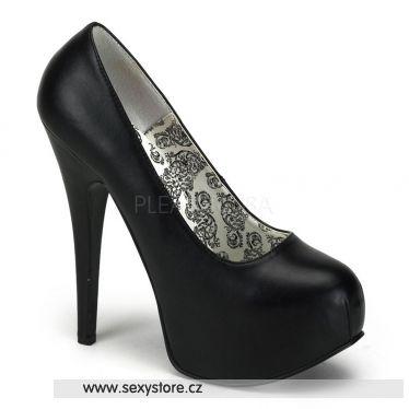 TEEZE-06 Černé matné lesklé sexy dámské lodičky na podpatku a platformě