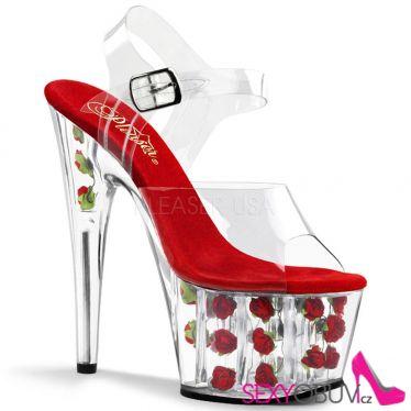ADORE-708FL Sexy boty na tanec u tyče červená květy