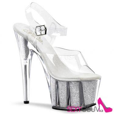 ADORE-708G Stříbrné sexy boty na tanec na tyči