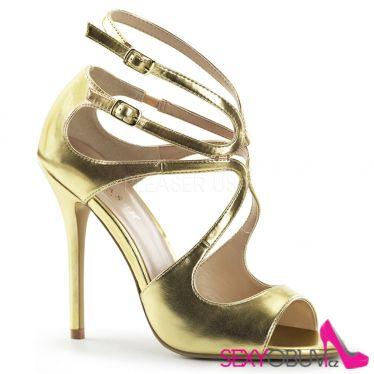 AMUSE-15 Zlatá plesová pásková obuv na podpatku