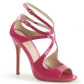 AMUSE-15 Růžová plesová pásková obuv na podpatku