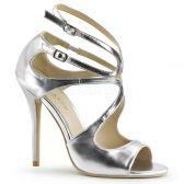 AMUSE-15 Stříbrná plesová pásková obuv na podpatku