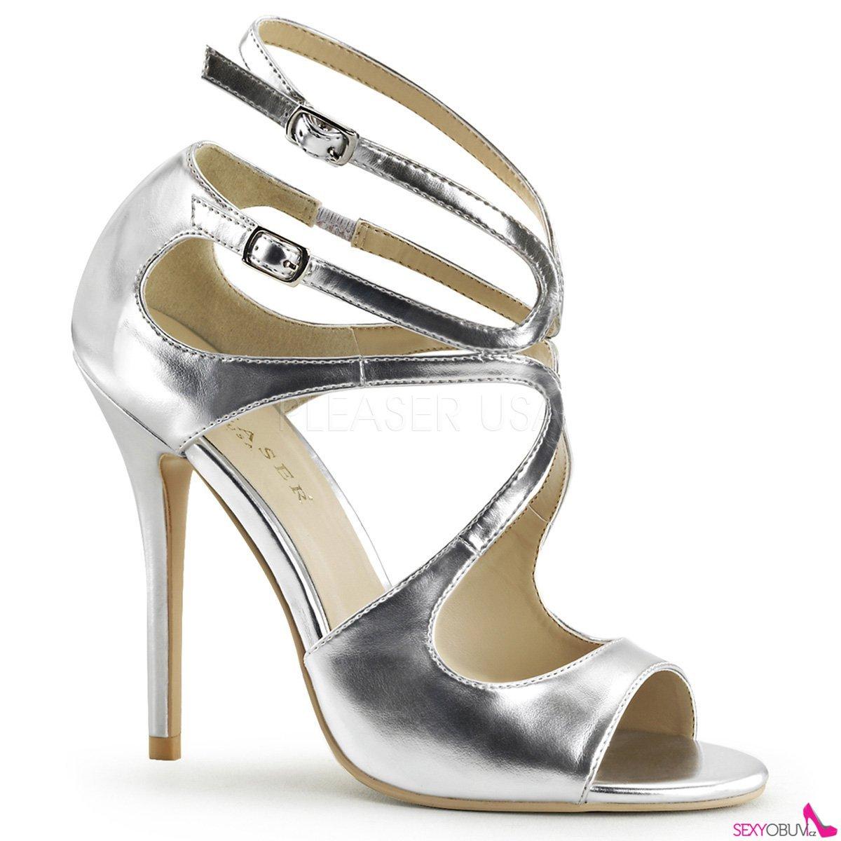 a0bb6ab9420 AMUSE-15 Stříbrná plesová pásková obuv na podpatku