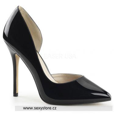 AMUSE-22 Sexy černé dámské lodičky na podpatku