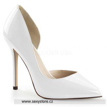 AMUSE-22 Sexy bílé dámské lodičky na podpatku