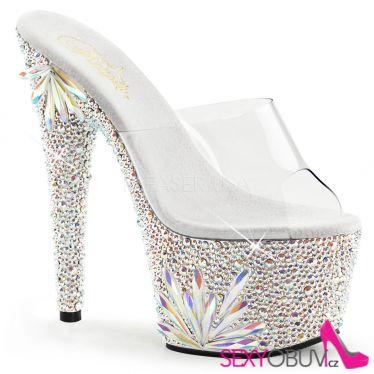 BEJEWELED-701FL Luxusní sexy stříbrná obuv na podpatku
