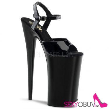 BEYOND-009 Extrémní černá obuv na velmi vysokém podpatku