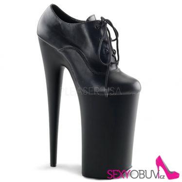 BEYOND-060 Černé kožené extrémně vysoké podpatky fetiš boty