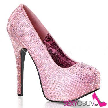 TEEZE-06R Růžové sexy dámské lodičky na podpatku a platformě
