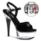 CAPTIVA-609 Sexy boty pro tanec na tyči černá/průhledná
