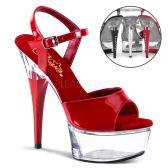 CAPTIVA-609 Červené/průhledné sexy boty pro tanec na tyči