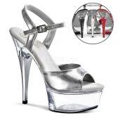 CAPTIVA-609 Stříbrné/průhledné sexy boty pro tanec na tyči