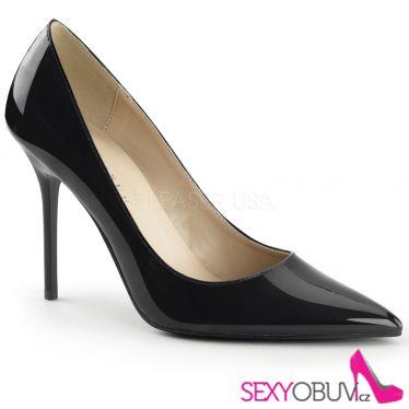 CLASSIQUE-20 Klasické černé dámské lodičky na podpatku