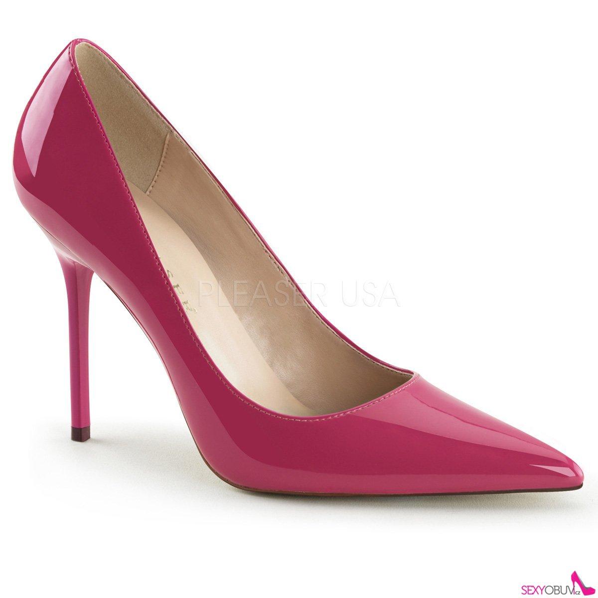CLASSIQUE-20 Klasické tmavě růžové dámské lodičky na podpatku 1b78d9c6fc
