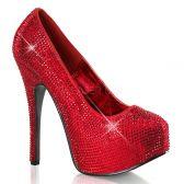 TEEZE-06R Červené sexy dámské lodičky na podpatku a platformě ozdobné kameny