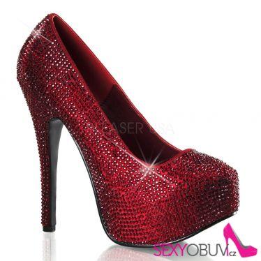 TEEZE-06R Rudé sexy dámské lodičky na podpatku a platformě ozdobné kameny
