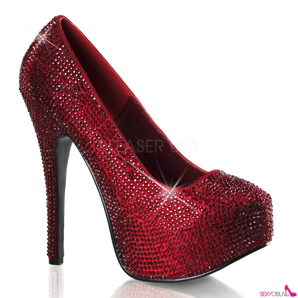 TEEZE-06R Rudé sexy dámské lodičky na podpatku a platformě ozdobné kameny f6bbd3f84d