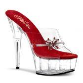 DELIGHT-601-10 Sexy strip boty na podpatku červená/průhledná