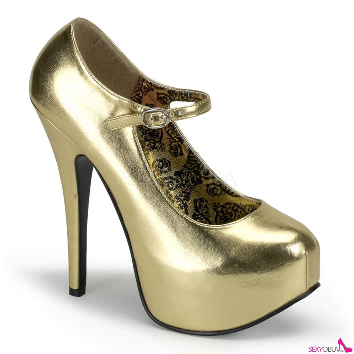 ebaf0054f5bd TEEZE-07 Zlaté matné dámské lodičky na podpatku
