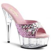 DELIGHT-601BJ Sexy růžové pantofle na podpatku a platformě