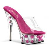 DELIGHT-601FL Sexy pantofle na podpatku a platformě tmavě růžová květy