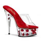 DELIGHT-601FL Sexy pantofle na podpatku a platformě červená květy
