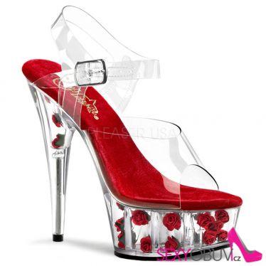 DELIGHT-608FL Boty pro tanec na tyči pole dance obuv červené/průhledné květy